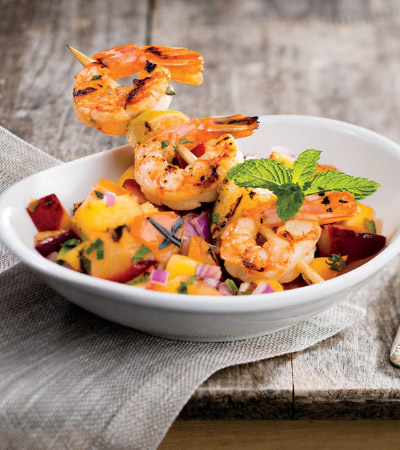 Tequila-Lime Shrimp Skewers with Grilled Fruit Salsa