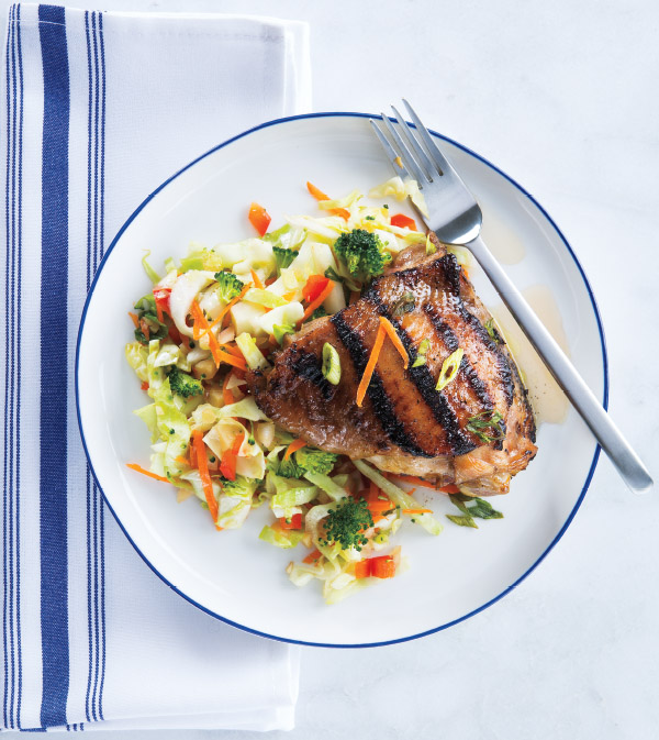 Teriyaki Grilled Chicken Thighs with Rainbow Slaw