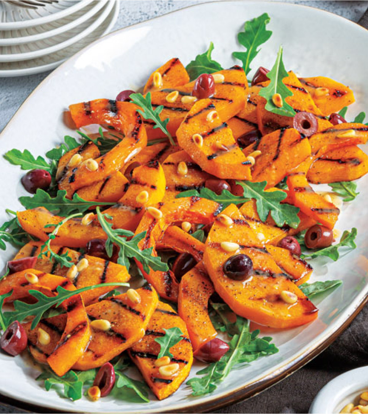 Warm Grilled Butternut Squash and Tahini Salad