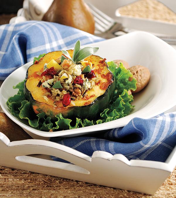 Wild Rice, Pear & Gorgonzola-Stuffed Acorn Squash