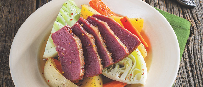 Corned Beef with Vegetables and Mustard-Dill Sauce