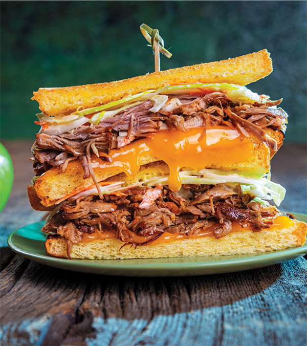 Slow Cooker Apple Cider-Pulled Pork Grilled Cheese